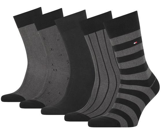 Tommy Hilfiger miesten sukat 5 paria lahjapakkaus, musta-harmaa 39-42