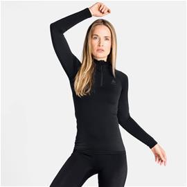 Odlo Women's PERFORMANCE WARM ECO ½ Zip Turtleneck Base Layer Top Musta / Harmaa XL