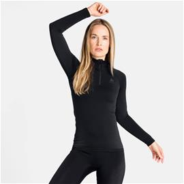 Odlo Women's PERFORMANCE WARM ECO ½ Zip Turtleneck Base Layer Top Musta / Harmaa L