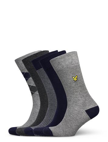 Lyle & Scott Harold Underwear Socks Regular Socks Harmaa Lyle & Scott DARK GREY MARL/ARGYLE/PEACOAT/STRIPE/GREY MARL