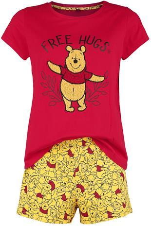Nalle Puh - Free Hugs - Pyjama - Naiset - Punainen keltainen