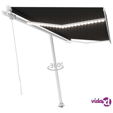 vidaXL Käsin sisäänkelattava markiisi LEDillä 400x350 cm antrasiitti