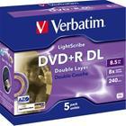 DVD+R-aihio (kaksikerroksinen, 8,5 Gt), 5 kpl