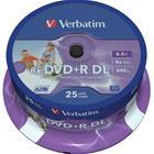 DVD+R-aihio (kaksikerroksinen, 8,5 Gt), 25 kpl