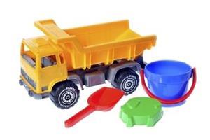 Plasto, kuorma-auto ja hiekkalelut
